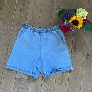 High waisted chambray shorts